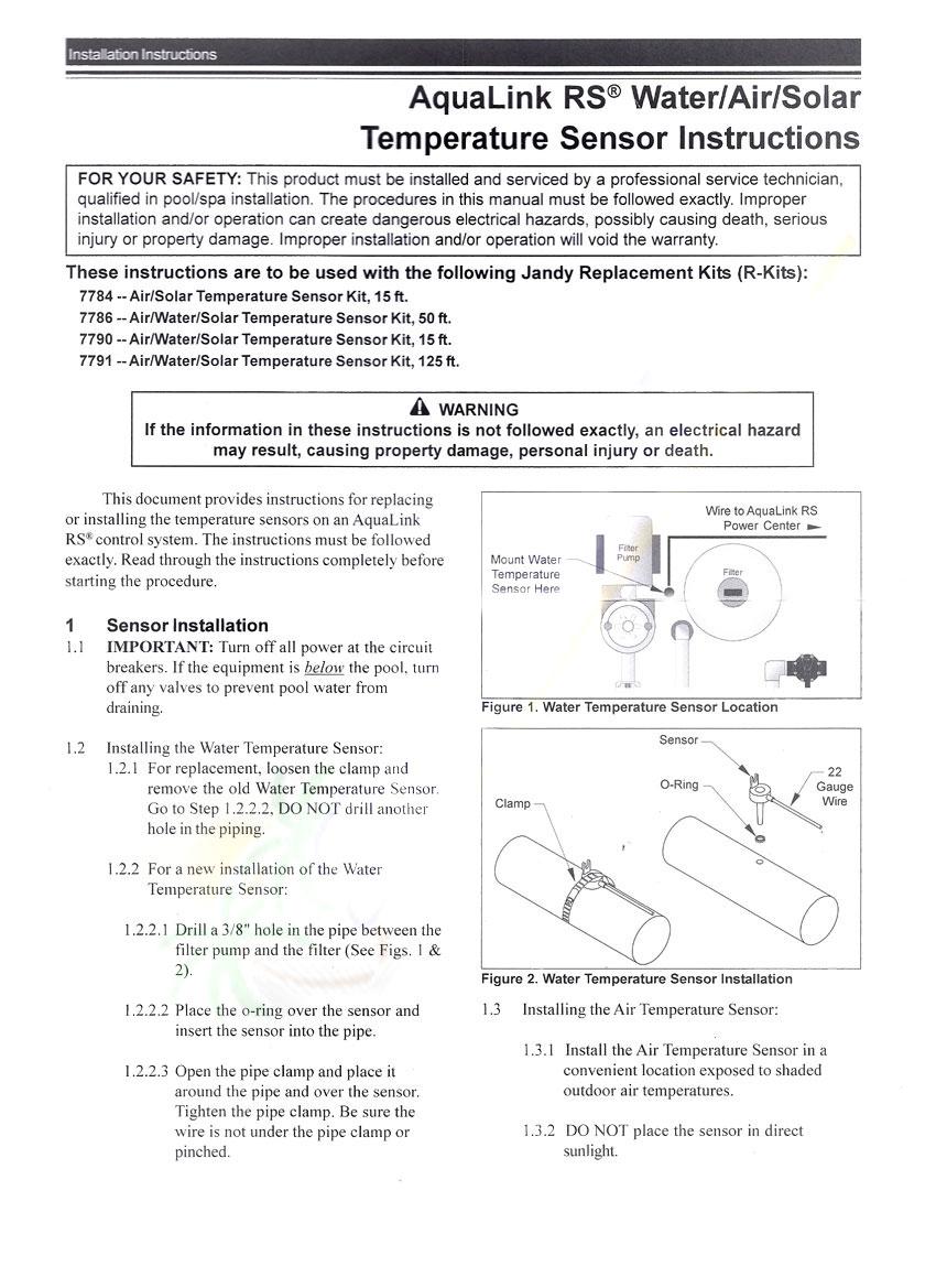 Temperature Sensor Kit Jandy Air Water Solar 15 Ft 7790 Free Shipping Aqualink Wiring Diagram Image 1 2