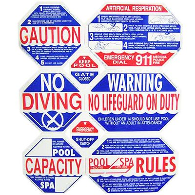 8-Way California Swimming Pool Safety Sign TGPS1001