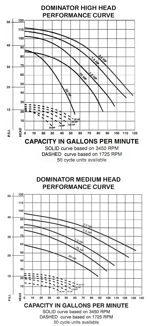 Swimming Pool and Spa Dominator Pump Performance Curve