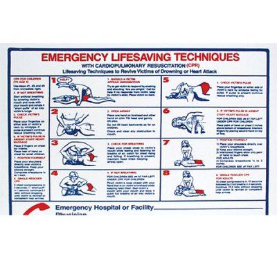 "Pool Sign Emergency Life Saving Techniques CPR 24"" x 18"" B8710"