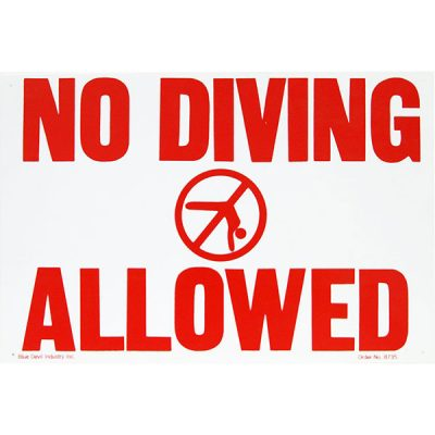 """Valterra Swimming Pool No Diving Allowed Sign 18"""" x 12"""" B8725"""