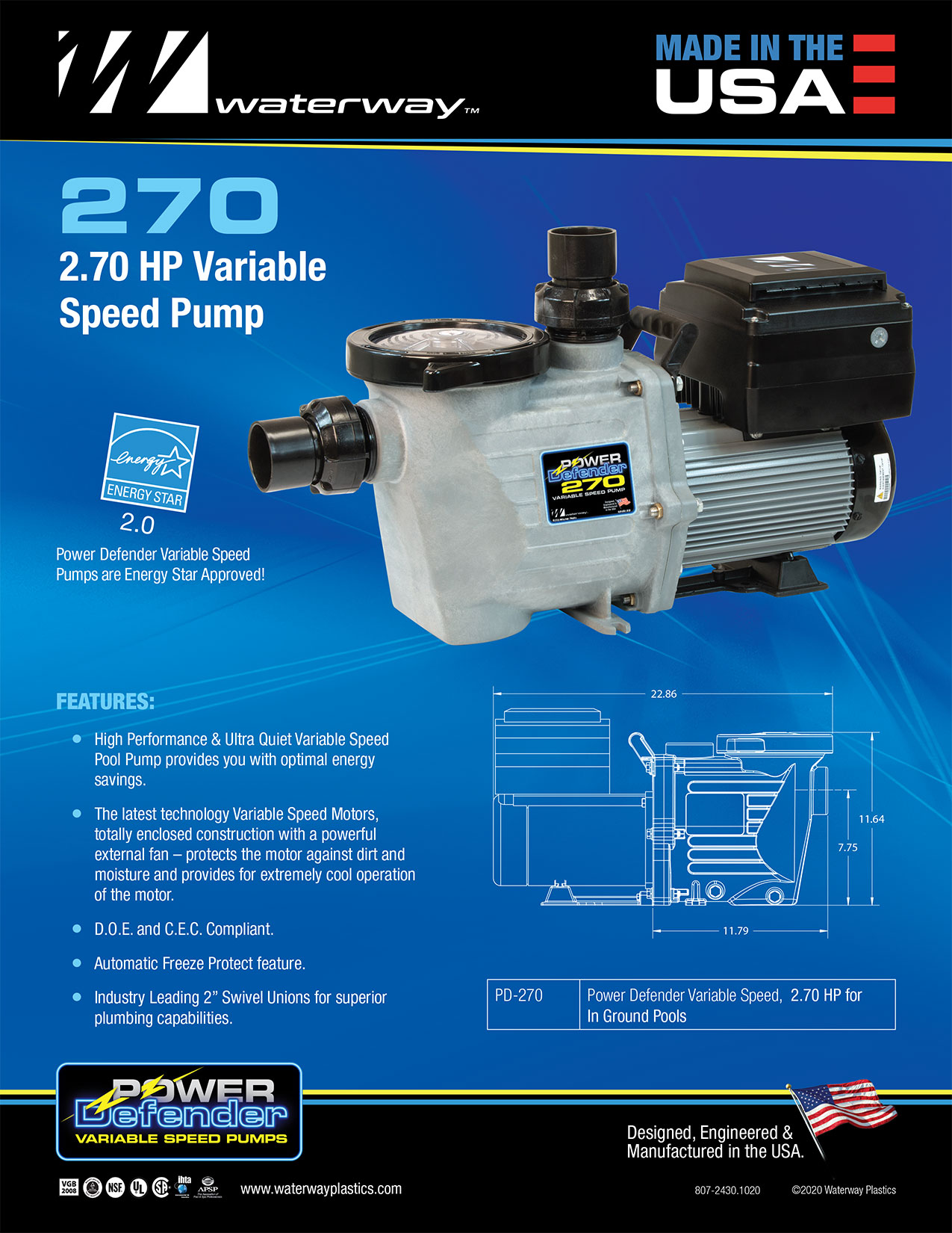 Waterway Power Defender 2.7HP 220V VSP Champion Swimming Pool and Spa Variable Speed Pump PD-270